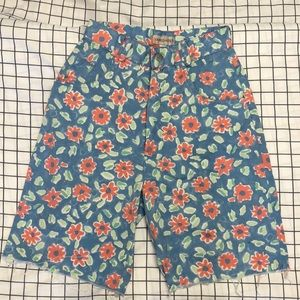 VTG Watercolor Doodle Floral High Waisted Shorts